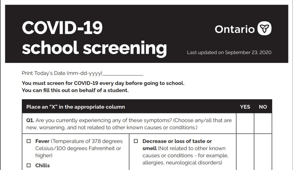 Ontario Launches New Covid 19 Screening Tool To Help Protect Students And Staff