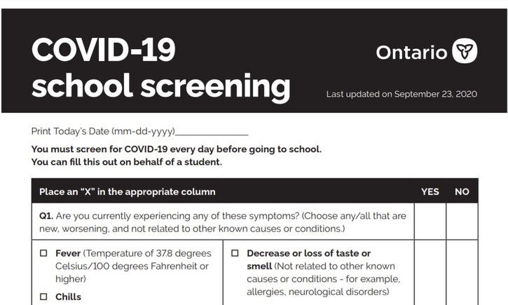 {Ontario Launches New COVID-19 Screening Tool to Help Protect Students and Staff}