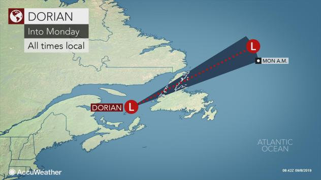 {Hurricane Dorian transitions to post-tropical cyclone ahead of landfall in Atlantic Canada}
